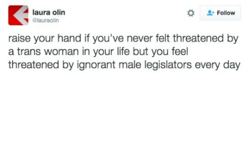 ignorant: laura olin  @lauraolin  + Follow  raise your hand if you've never felt threatened by  a trans woman in your life but you feel  threatened by ignorant male legislators every day