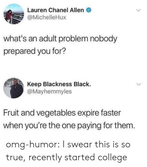 College, Omg, and True: Lauren Chanel Allen  @MichelleHux  what's an adult problem nobody  prepared you for?  Keep Blackness Black  @Mayhemmyles  Fruit and vegetables expire faster  when you're the one paying for them omg-humor:  I swear this is so true, recently started college