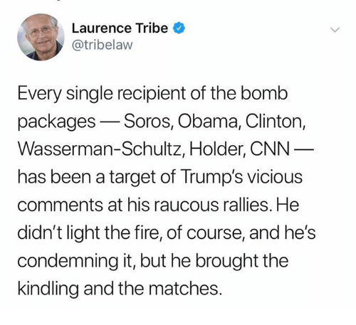 packages: Laurence Tribe  @tribelaw  Every single recipient of the bomb  packages-Soros, Obama, Clinton,  Wasserman-Schultz, Holder, CNN  has been a target of Trump's vicious  comments at his raucous rallies. He  didn't light the fire, of course, and he's  condemning it, but he brought the  kindling and the matches.