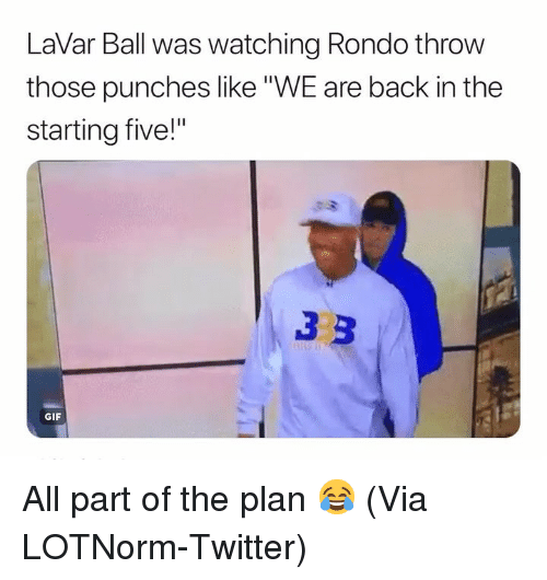 """Lavar: LaVar Ball was watching Rondo throw  those punches like""""WE are back in the  starting five!""""  GIF All part of the plan 😂 (Via LOTNorm-Twitter)"""