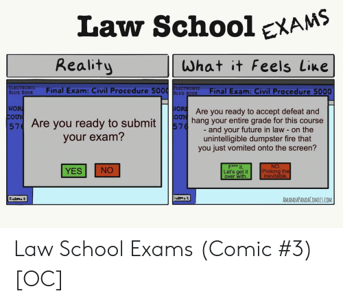 final exam: Law SchooleXAMS  Reality  What it Feels Line  ELECTRONIC  BLUE BODK Final Exam: Civil Procedure 5ELE ROFinal Exam: Civil Procedure 5000  WO  Are you ready to accept defeat and  57 Are you ready to subming your entire grade for this course  and your future in law - on the  unintelligible dumpster fire that  you just vomited onto the screen?  your exam?  NO  Prolong the  inevitable  F*** it  YES NO  Let's get it  over with  ubmA t  AMANDAPANDACOMICS.COM Law School Exams (Comic #3) [OC]