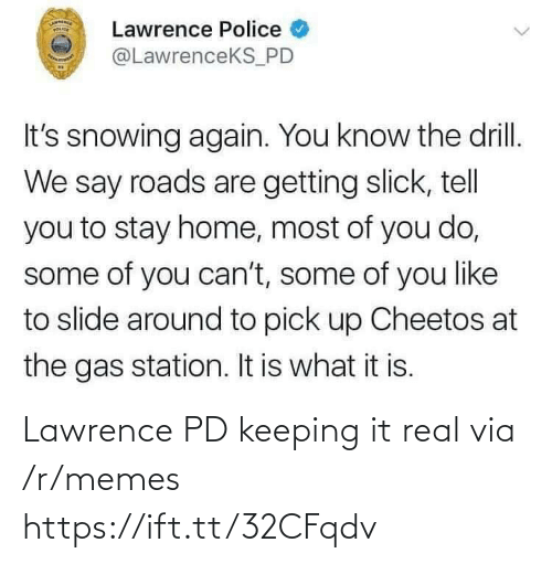 Lawrence: Lawrence PD keeping it real via /r/memes https://ift.tt/32CFqdv