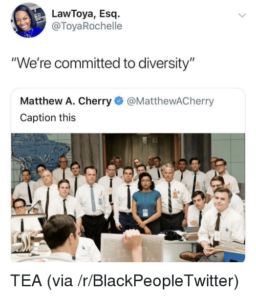 "Diversity: LawToya, Esq.-  @ToyaRochelle  ""We're committed to diversity""  Matthew A. Cherry@MatthewACherry  Caption this TEA (via /r/BlackPeopleTwitter)"