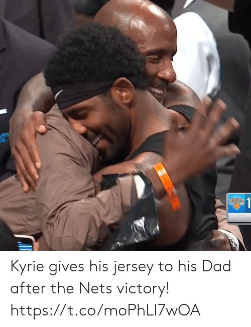 Dad, Lay's, and Memes: LAYS  R  $1 Kyrie gives his jersey to his Dad after the Nets victory! https://t.co/moPhLl7wOA