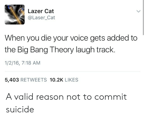 Suicide, Voice, and Reason: Lazer Cat  @Laser_Cat  When you die your voice gets added to  the Big Bang Theory laugh track.  1/2/16, 7:18 AM  5,403 RETWEETS 10.2K LIKES A valid reason not to commit suicide