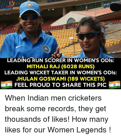 wicket: LEADING RUN SCORER IN WOMEN'S ODIs:  MITHALI RAJ (6028 RUNS)  LEADING WICKET TAKER IN WOMEN'S ODIs:  JHULAN GOSWAMI (189 WICKETS)  FEEL PROUD TO SHARE THIS PIC! When Indian men cricketers break some records, they get thousands of likes! How many likes for our Women Legends !