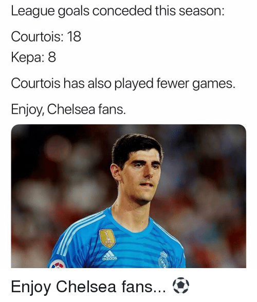 courtois: League goals conceded this season:  Courtois: 18  Kepa: 8  Courtois has also played fewer games.  Enjoy, Chelsea fans.  FLEA  adidaS Enjoy Chelsea fans... ⚽️