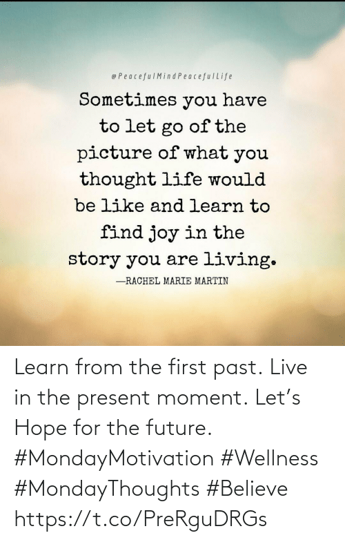 Wellness: Learn from the first past. Live in the present moment. Let's Hope for the future.  #MondayMotivation #Wellness  #MondayThoughts #Believe https://t.co/PreRguDRGs