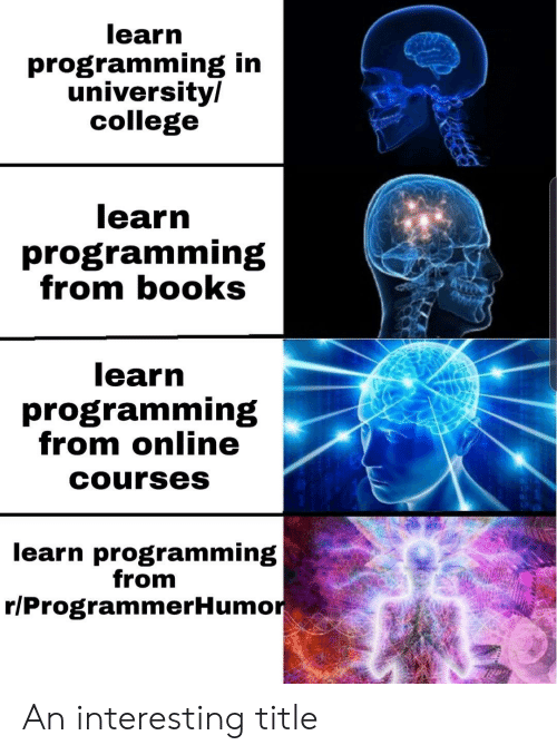 Books, College, and Programming: learn  programming in  university/  college  learn  programming  from books  learn  programming  from online  Courses  learn programming  from  r/ProgrammerHumor An interesting title