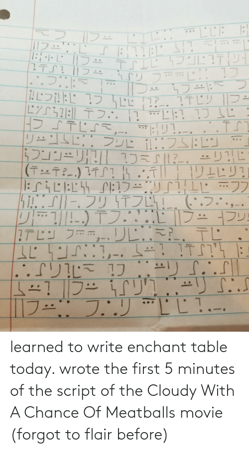 Write: learned to write enchant table today. wrote the first 5 minutes of the script of the Cloudy With A Chance Of Meatballs movie (forgot to flair before)