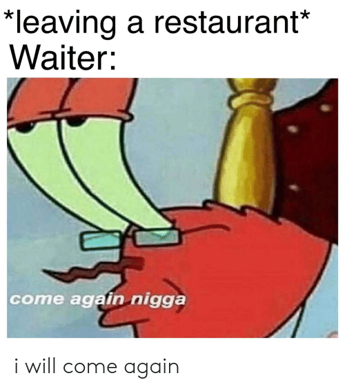 Restaurant, Will, and Nigga: *leaving a restaurant*  Waiter:  come again nigga i will come again
