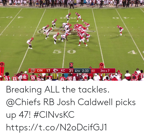 Memes, Chiefs, and All The: LEB CIN  KC  17  31 4TH 2:33 03  3RD & 7  81 59  AL  19  PASAG Breaking ALL the tackles.  @Chiefs RB Josh Caldwell picks up 47! #CINvsKC https://t.co/N2oDcifGJ1