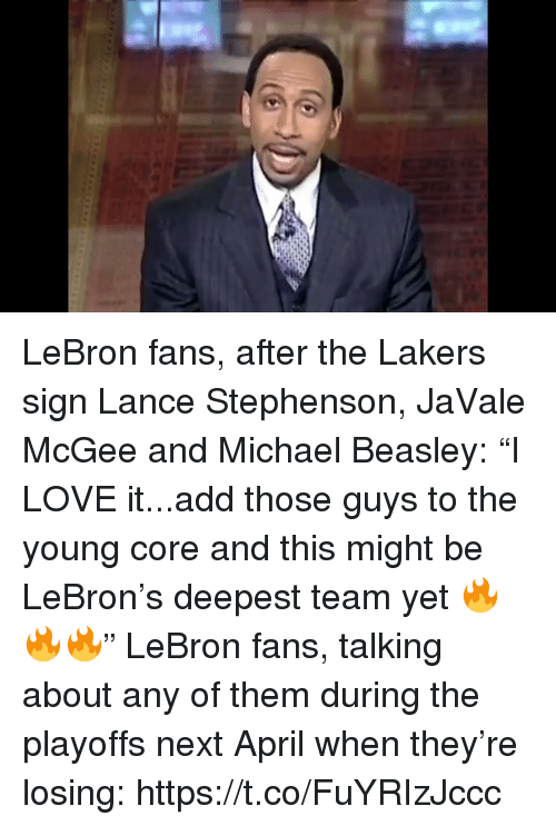 """Beasley: LeBron fans, after the Lakers sign Lance Stephenson, JaVale McGee and Michael Beasley: """"I LOVE it...add those guys to the young core and this might be LeBron's deepest team yet 🔥🔥🔥""""  LeBron fans, talking about any of them during the playoffs next April when they're losing: https://t.co/FuYRIzJccc"""
