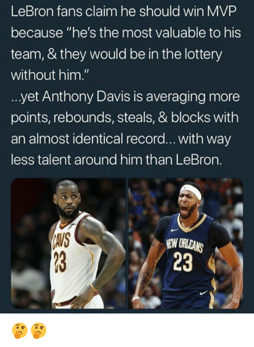 """Lottery, Anthony Davis, and Lebron: LeBron fans claim he should win MVP  because """"he's the most valuable to his  team, & they would be in the lottery  without him.""""  yet Anthony Davis is averaging more  points, rebounds, steals, & blocks with  an almost identical record... with way  less talent around him than LeBron.  IAIS  EW ORLEANS  23 🤔🤔"""