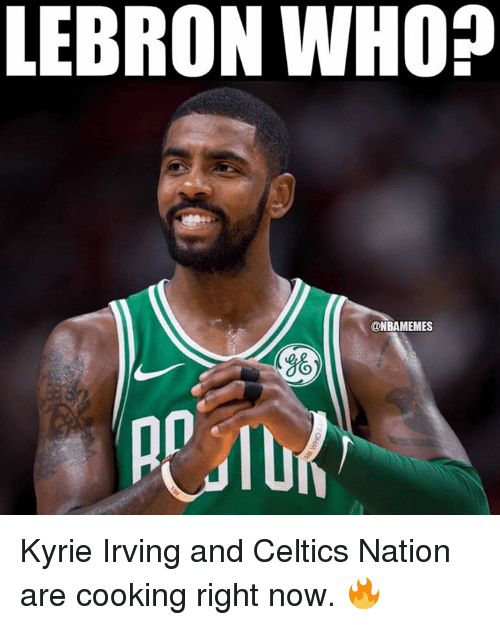 Kyrie Irving, Nba, and Celtics: LEBRON WHO?  ONBAMEMES  8% Kyrie Irving and Celtics Nation are cooking right now. 🔥