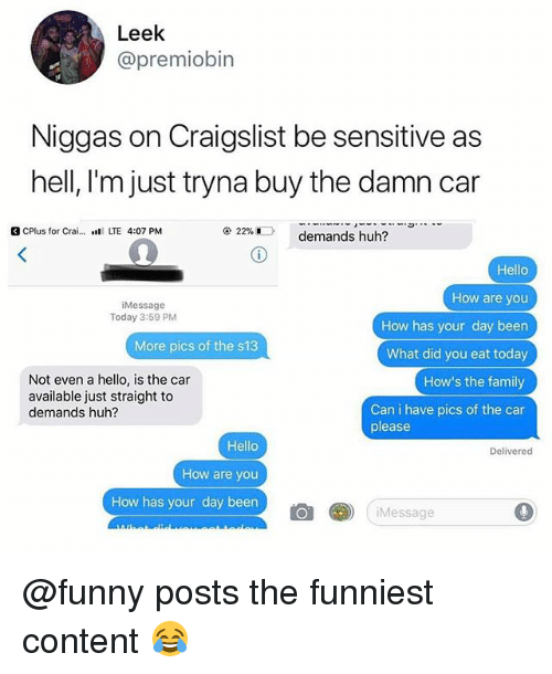 Craigslist, Family, and Funny: Leek  @premiobin  Niggas on Craigslist be sensitive as  hell, I'm just tryna buy the damn car  G CPlus for Crai… wil LTE 4:07 PM  @ 22%D  demands huh?  Hello  How are you  How has your day been  What did you eat today  How's the family  Can i have pics of the car  Message  Today 3:59 PM  More pics of the s13  Not even a hello, is the car  available just straight to  demands huh?  please  Hello  How are you  How has your day been  Delivered  仓  (iMessage @funny posts the funniest content 😂