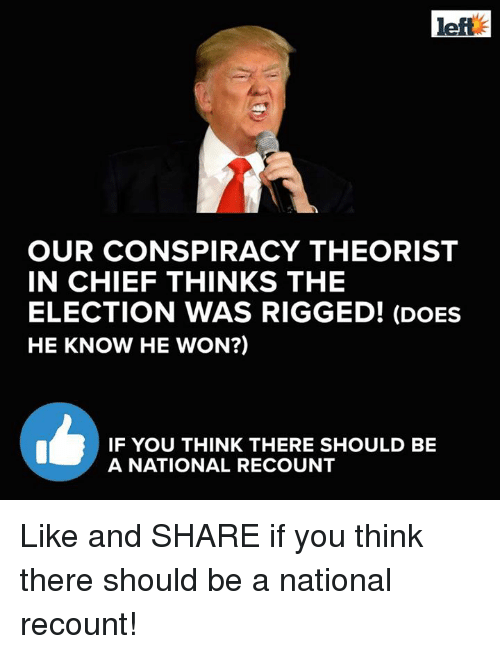 Conspiracy Theorists: left  OUR CONSPIRACY THEORIST  IN CHIEF THINKS THE  ELECTION WAS RIGGED! (DOES  HE KNOW HE WON?)  IF YOU THINK THERE SHOULD BE  A NATIONAL RECOUNT Like and SHARE if you think there should be a national recount!