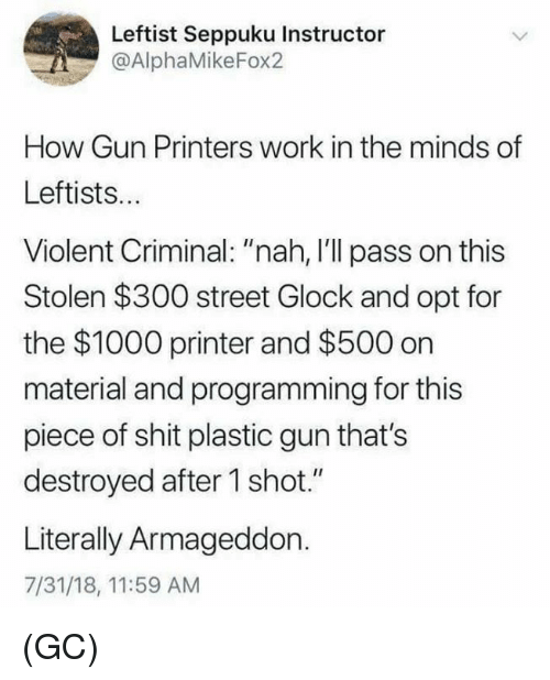 "Memes, Shit, and Work: Leftist Seppuku Instructor  @AlphaMikeFox2  How Gun Printers work in the minds of  Leftists..  Violent Criminal: ""nah, I'll pass on this  Stolen $300 street Glock and opt for  the $1000 printer and $500 on  material and programming for this  piece of shit plastic gun that's  destroyed after 1 shot.""  Literally Armageddon.  7/31/18, 11:59 AM (GC)"
