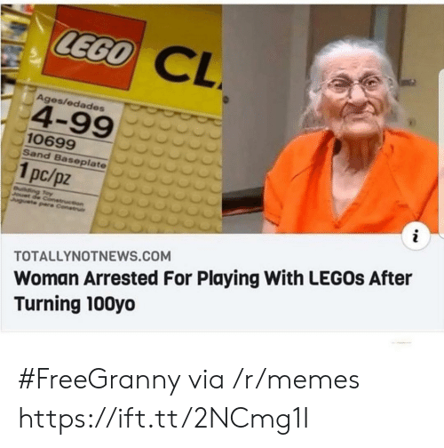 lego: LEGO  CL  Ages/edades  4-99  10699  Sand Baseplate  1pc/pz  i  uilding Toy  Jouet de Conetruction  Juguete pare Construi  Woman Arrested For Playing With LEGOS After  Turning 100yo  TOTALLYNOTNEWS.COM #FreeGranny via /r/memes https://ift.tt/2NCmg1I