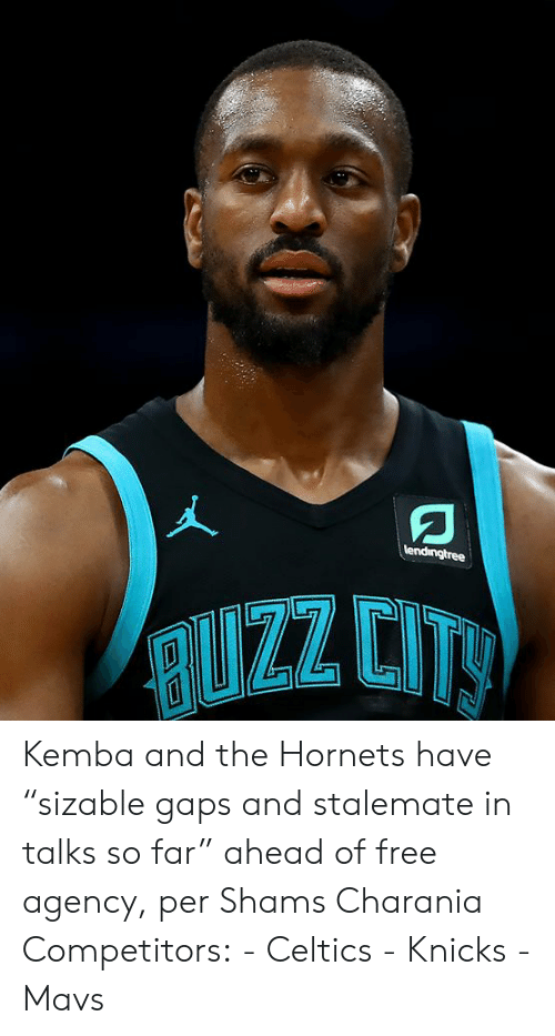 "New York Knicks: lendingtree  RUZZ CITY Kemba and the Hornets have ""sizable gaps and stalemate in talks so far"" ahead of free agency, per Shams Charania  Competitors: - Celtics - Knicks - Mavs"