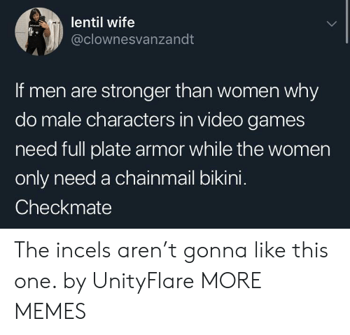 Dank, Memes, and Target: lentil wife  @clownesvanzandt  If men are stronger than women why  do male characters in video games  need full plate armor while the women  only need a chainmail bikini.  Checkmate The incels aren't gonna like this one. by UnityFlare MORE MEMES