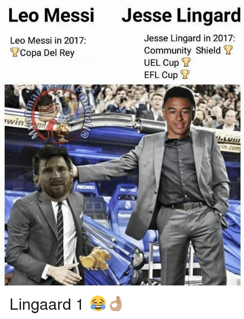 Community, Memes, and Rey: Leo Messi  Jesse Lingard  Jesse Lingard in 2017:  Community Shield ?  UEL Cup ?  EFL Cup ?  Leo Messi in 2017:  Copa Del Rey Lingaard 1 😂👌🏽