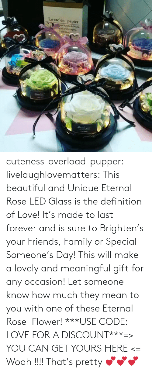 Brighten: Lesac en  papier  halke  Fvat for cuteness-overload-pupper:  livelaughlovematters:  This beautiful and Unique Eternal Rose LED Glass is the definition of Love! It's made to last forever and is sure to Brighten's your Friends, Family or Special Someone's Day! This will make a lovely and meaningful gift for any occasion! Let someone know how much they mean to you with one of these Eternal Rose  Flower! ***USE CODE: LOVE FOR A DISCOUNT***=> YOU CAN GET YOURS HERE <=  Woah !!!! That's pretty 💕💕💕