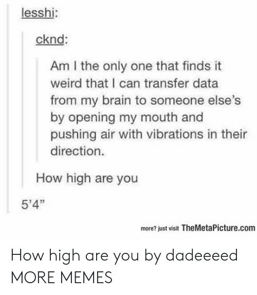 "am i the only: lesshi:  cknd:  Am I the only one that finds it  weird that I can transfer data  from my brain to someone else  by opening my mouth and  pushing air with vibrations in thei  direction.  How high are you  5'4""  more? just visit TheMetaPicture.com How high are you by dadeeeed MORE MEMES"