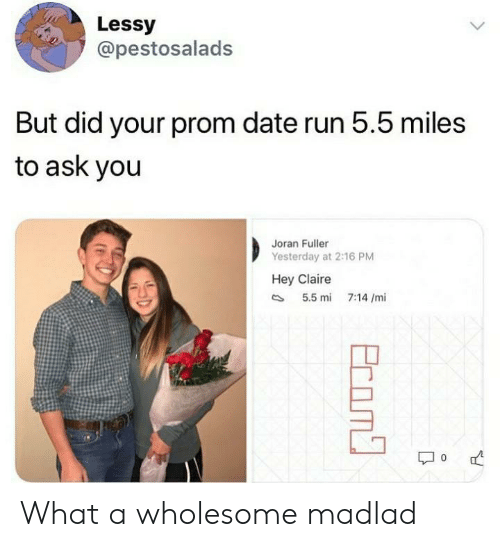 Claire: Lessy  @pestosalads  But did your prom date run 5.5 miles  to ask you  Joran Fuller  Yesterday at 2:16 PM  Hey Claire  5.5 mi  7:14 /mi  Ecom What a wholesome madlad