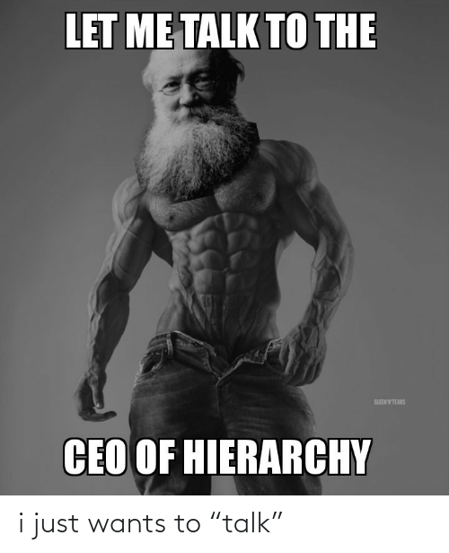 """Ceo, Hierarchy, and Just: LET ME TALK TO THE  SLEEKWTEARS  CEO OF HIERARCHY i just wants to """"talk"""""""