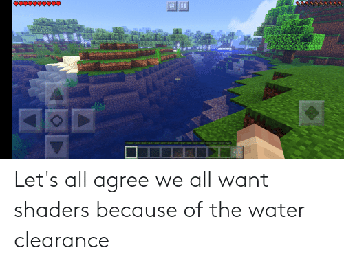 Because Of: Let's all agree we all want shaders because of the water clearance