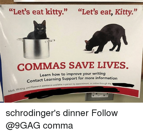 """9gag, Memes, and How To: """"Let's eat kitty.""""  """"Let's eat, Kitty.""""  COMMAS SAVE LIVES.  Learn how to improve your writing  Contact Learning Support for more information  d Research assistance available in-person by appointment or online through the  assist  Math, Writing, and schrodinger's dinner Follow @9GAG comma"""