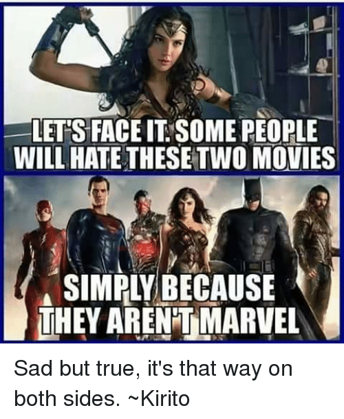 kirito: LETS FACE IT SOME PEOPLE  WILL HATE THESETWO MOVIES  SIMPLY BECAUSE  THEY ARENTMARVEL Sad but true, it's that way on both sides. ~Kirito