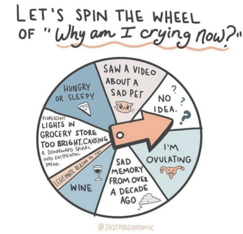 "Saw, Video, and Sad: LET'S SPIN THE WHEEL  OF ""Why am I cryinq no  SAW A VIDEO  ABOUT A  OR SLEEPY SAD PEr  FLORESCENT  LIGHTS IN  GROCERY STOO  TOO BRI6HT.CAUSING  A DOWNWARD SPIRAL  INTO EXISTENTAL  I'M  SAD OVULATING  DREAD  MEMORY  FROM OVER  A DECADE  AGO  JUST PEACHYCOMIC"