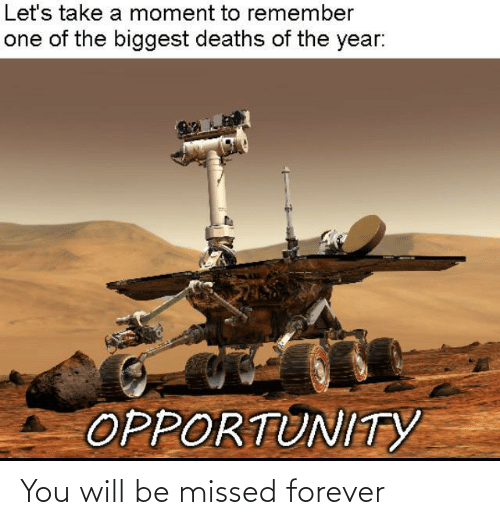 You Will: Let's take a moment to remember  one of the biggest deaths of the year:  OPPORTUNITYY You will be missed forever