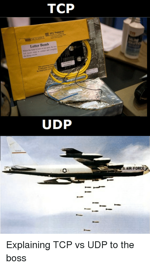 Air Force, Layers, and Air: Letter Bomb  When the letter is torn er cut open,  fod layers come in  the firing circuit  the mo  and complete  by wright pou  AIR FORCE: Explaining TCP vs UDP to the boss