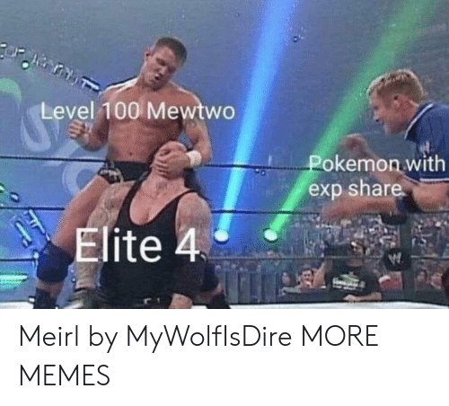 exp: Level 100 Mewtwo  Pokemon with  exp share  Elite 4 Meirl by MyWolfIsDire MORE MEMES