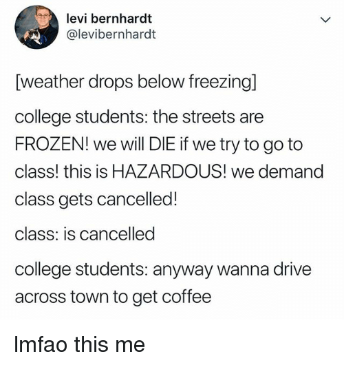 College, Frozen, and Streets: levi bernhardt  @levibernhardt  [weather drops below freezingl  college students: the streets are  FROZEN! we will DIE if we try to go to  class! this is HAZARDOUS! we demand  class gets cancelled!  class: is cancelled  college students: anyway wanna drive  across town to get coffee lmfao this me