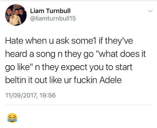 "Fuckins: Liam Turnbull  @liamturnbull15  Hate when u ask some1 if they've  heard a song n they go ""what does it  go like"" n they expect you to start  beltin it out like ur fuckin Adele  11/09/2017, 19:56 😂"