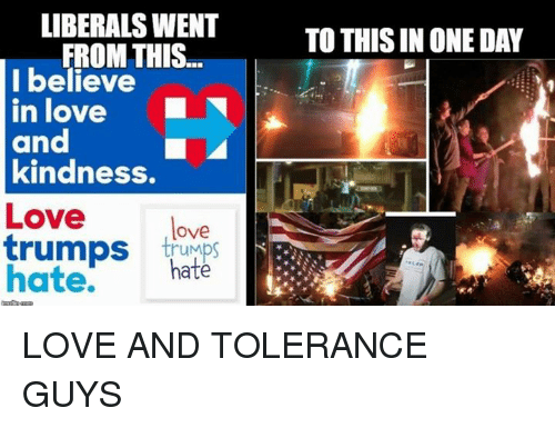 Trump Hate: LIBERALS WENT  FROM THIS  I believe  in love  and  kindness.  Love  love  trumps  trumps  hate.  hate  TO THIS IN ONE DAY LOVE AND TOLERANCE GUYS
