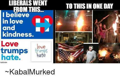 Love Trumps Hate: LIBERALS WENT  FROM THIS  I believe  in love  and  kindness.  Love  love  trumps hate.  hate  TO THIS IN ONE DAY ~KabalMurked