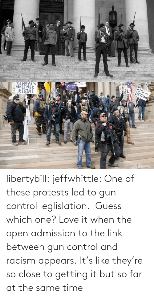gun: libertybill:  jeffwhittle:  One of these protests led to gun control leglislation.  Guess which one?   Love it when the open admission to the link between gun control and racism appears.   It's like they're so close to getting it but so far at the same time