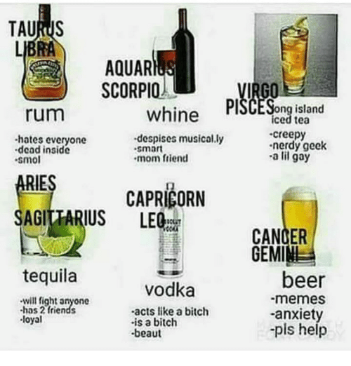 Pls Help: LIBRA  AQUAR  ) SCORPIO !  whine PSCESong ialand  ng island  iced tea  rum  hates everyone  dead inside  smo  despises musically  smart  creepy  nerdy geek  -a lil gay  mom friend  RIES  eouiARIUS CAPRICORN CAPRI  CANDER  GEMINI  tequila  beer  -memes  -anxiet  pls help  vodka  will fight anyone  has 2 friends  loyal  -acts like a bitch  is a bitch  beaut