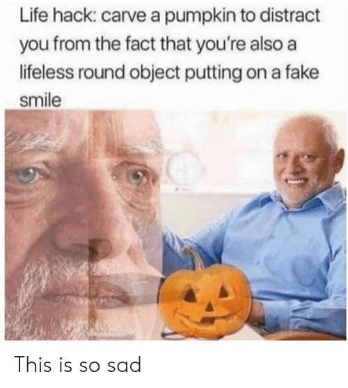 Fake, Life, and Life Hack: Life hack: carve a pumpkin to distract  you from the fact that you're also a  lifeless round object putting on a fake  smile This is so sad
