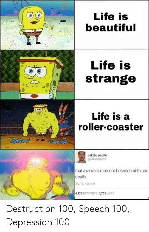 papito: Life is  beautiful  Life is  strange  Life is a  roller-coaster  pakalu papito  Opakalupapito  that awkward moment between birth and  death  2/2/16, 4:37 AM  4,173 RETWEETS 4,755 LIKES Destruction 100, Speech 100, Depression 100