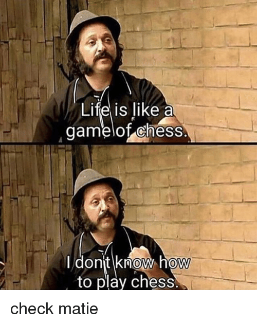 Dank, Life, and Chess: Life is like a  damelof chess  I dont know how  to play chess.  0 check matie