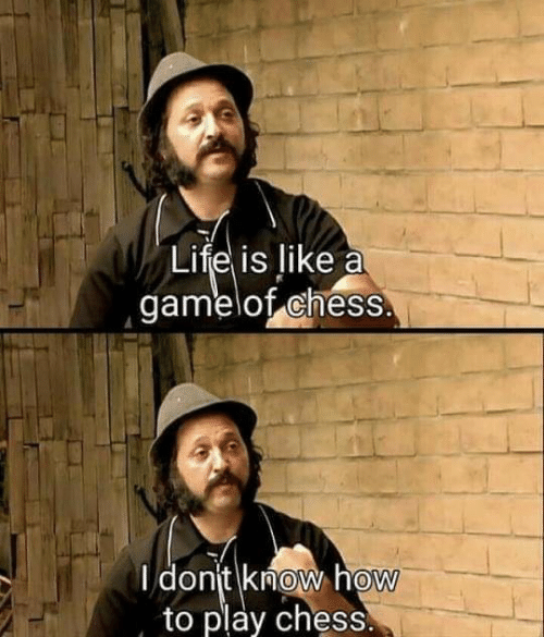 Life, Chess, and How To: Life is like a  gamelof chess.  I dont know how  to play chess.  0