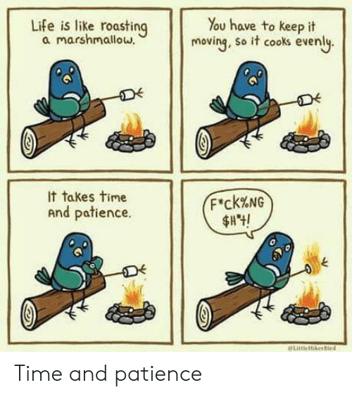 cooks: Life is like roasting  a marshmallow.  You have to keep it  moving, so it cooks evenly.  It takes time  F'ck%NG  And patience.  LitleikerBird Time and patience