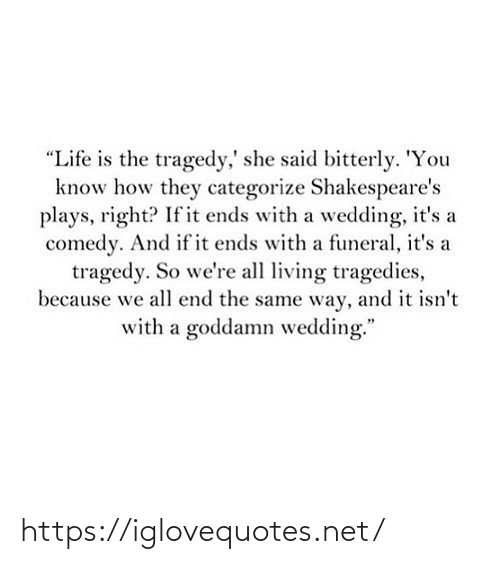 "Ends: ""Life is the tragedy,' she said bitterly. 'You  know how they categorize Shakespeare's  plays, right? If it ends with a wedding, it's a  comedy. And if it ends with a funeral, it's a  tragedy. So we're all living tragedies,  because we all end the same way, and it isn't  with a goddamn wedding."" https://iglovequotes.net/"