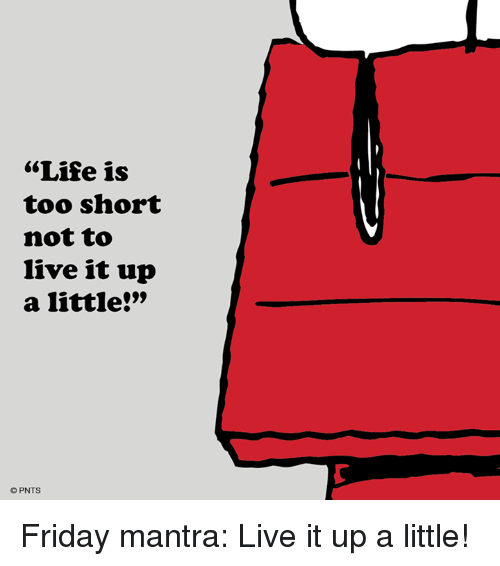 Life Is Too Short Not To Live It Up A Little Pnts Friday Mantra